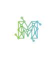 m letter connect dot network logo icon design vector image