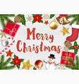 merry chrismast object top view on wood background vector image vector image