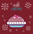 merry christmas celebration chocolate cake vector image