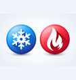 modern 3d hot and cold icon set flame snowflake vector image