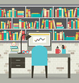 Modern Flat Design Workplace With Bookcase vector image vector image