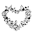 music from heart sketch cartoon vector image vector image