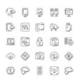 network and communication doodle icons set vector image