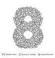 number symbol of white leaves vector image