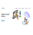 online 3d printing website landing page vector image vector image