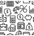 pattern of black color linear financial icons vector image