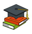 pile text books with hat graduation vector image