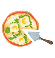 pizza with eggs print vector image vector image