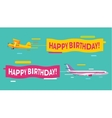 Plane flying with Happy Birthday banners