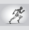 polygonal running man figure on white background vector image vector image