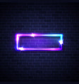 realistic led neon lights frame rectangle signage vector image vector image