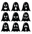 Scary Halloween ghosts characters icons set in b vector image