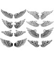 set of vintage wings isolated on white background vector image vector image