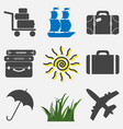 set travel icons icons vacation suitcase vector image vector image