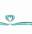 sierra leone flag heart-shaped ribbon vector image