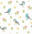 spring little birds pattern vector image vector image