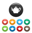 teapot with cap icons set color vector image vector image