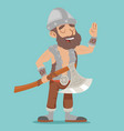 viking northerner with axe fantasy action rpg game vector image