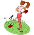 Girl mows the lawn vector image