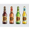 glass beer bottles transparent background vector image