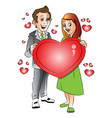 happy young couple with heart shape symbol vector image