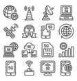 5g generation mobile communication icons set line vector image