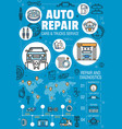 auto repair car service spare parts infographics vector image vector image
