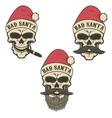 Bad santa Set of skulls in Santa Claus hat with vector image vector image