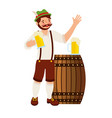 bavarian man holding beers glass and barrel vector image vector image