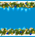 Blue Christmas Border with Garland vector image vector image