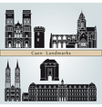 Caen landmarks and monuments vector image vector image