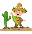 Cartoon boy wearing Mexican dress vector image vector image