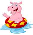 cartoon hippo with inflatable ring vector image vector image