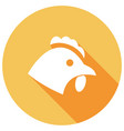 chicken flat icon with long shadow vector image