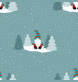 christmas winter pattern with cute gnome vector image vector image
