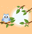 colorful tree with cute owl cartoon bird in sunny vector image vector image