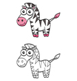 Cute cartoon zebra vector image vector image