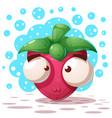 cute crazy strawberry - cartoon vector image vector image