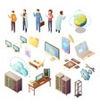 datacenter isometric icons set vector image vector image