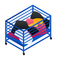 dirty clothes cart basket icon isometric style vector image vector image