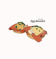 egg benedict breakfast hand draw sketch vector image