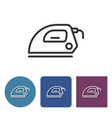 electric iron line icon in different variants vector image