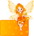 fairy with teddy bear vector image vector image
