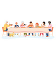 family meal people dining together eating vector image