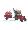 festive new year 2019 card red tractor with fir vector image vector image
