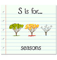 Flashcard letter S is for seasons vector image vector image
