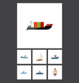 flat icon boat set of yacht delivery boat and vector image vector image