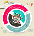 Four Steps Circle Infographics with Top View Table vector image