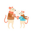 funny colorful mouse parent and child drink tea vector image