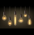 glow realistic lamps incandescent light hang bulb vector image